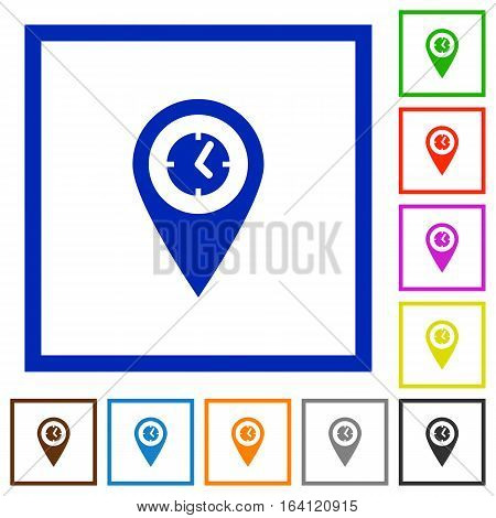 Location arrival time flat color icons in square frames on white background