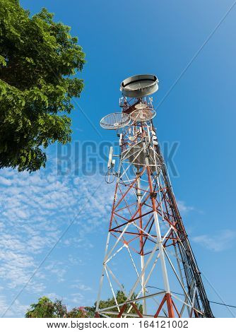 tower mobile phone with blue sky technology and communication concept