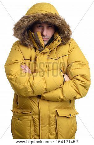 Frozen Guy Wearing A Yellow Winter Jacket