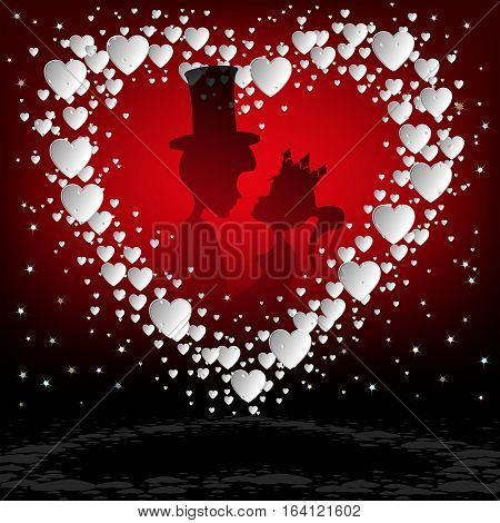 Design of white hearts , the lovers, the Prince and the Princess snuggled up to each other on a red background