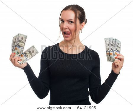 Happy Woman Holds Some Money