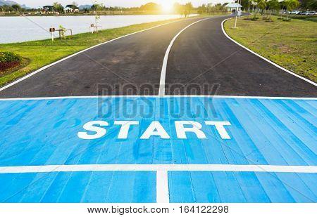 Running Race Track Start Point.