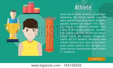 Athlete Conceptual Banner   Great flat illustration concept icon and use for human, profession, athlete, work, event and much more.