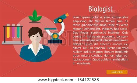 Biologist Conceptual Banner | Great flat illustration concept icon and use for human, profession, athlete, work, event and much more.