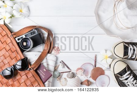 Prepare Accessories And Travel Items On White Wooden Background