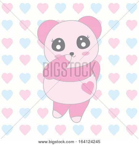 Valentine's day illustration with cute baby pink panda on love background suitable for Valentine's day greeting card, invitation card and postcard