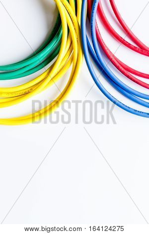 concept network internet cable on white background top view.