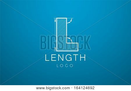 Logo Template Letter L  In The Style Of A Technical Drawing.