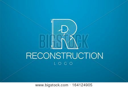Logo Template Letter R In The Style Of A Technical Drawing.