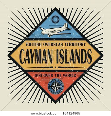 Stamp or vintage emblem with airplane compass and text Cayman Islands Discover the World vector illustration