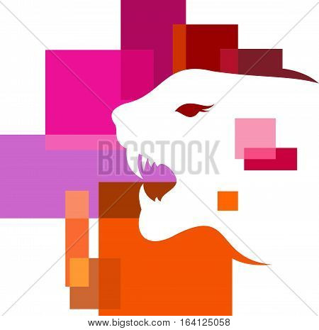 logo illustration animal tiger pixel abstract colorful