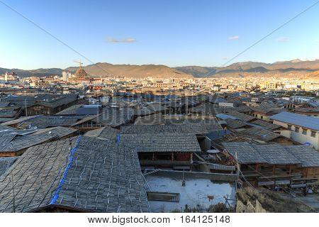 Shangri-La China - November 12 2016: Panoramic view of Shangri-La Old Town at sunset