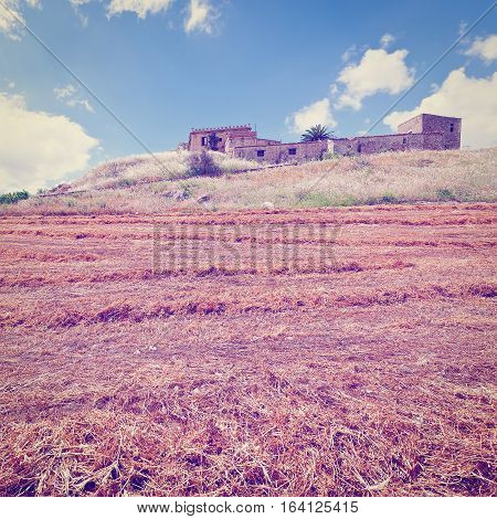 Mown Field on the Hill in Sicily Instagram Effect