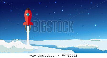 Stratosphere Flat Modern Design. Rocket Space Vector Illustration.