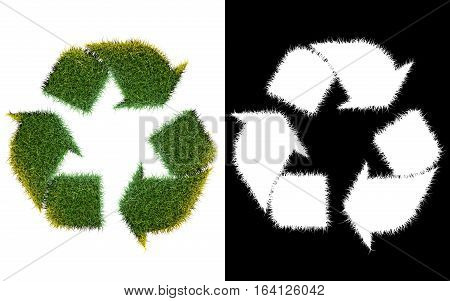 Recycle logo symbol from the green grass isolated on white with alpha channel