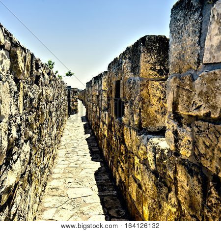 Part of the wall surrounding the Old City in Jerusalem Israel. An important Jewish religious site