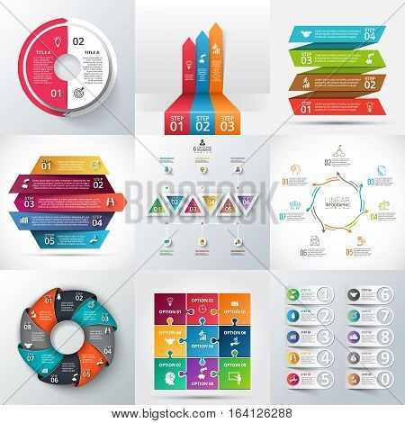 Creative concept for infographic. Process chart. Abstract elements of graph, diagram with 2, 3, 4, 5, 6, 7, 8, 9 and 10 steps, options, parts or processes. Vector business template for presentation.