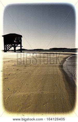 Lifeguard House on the Beach of Mediterranean Sea in Israel Vintage Style Toned Picture
