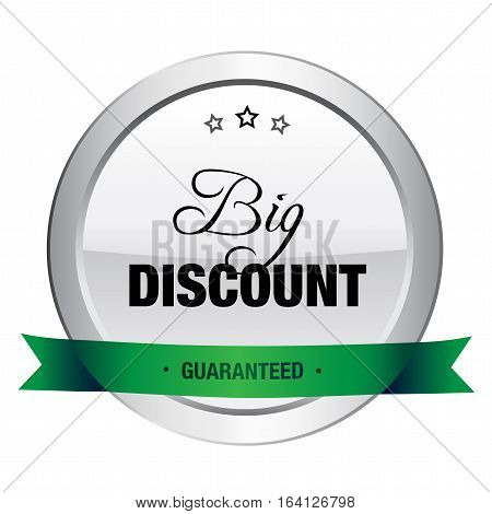 Big discount seal or icon. Silver seal or button with stars and green color.