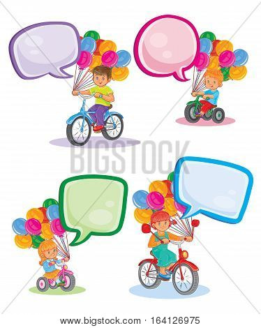 A set of vector icons of small children ride bikes with speech bubbles