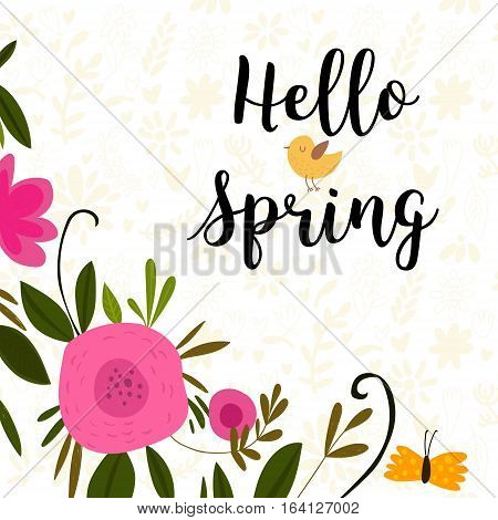 Hello Spring Greeting Card. Hand Drawn Illustration With Flowers And Lettering.- Stock Vector
