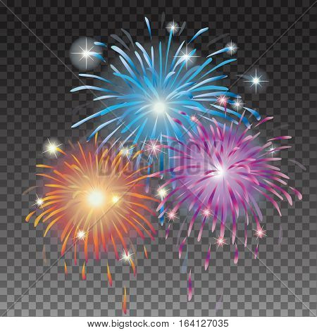 Festive Glows bright star light fireworks. Holiday Flash and glow, sparkle illuminated, flare effect, shine explosion, glitter and twinkle, spark magic. Christmas decoration star burst transparent vector illustration