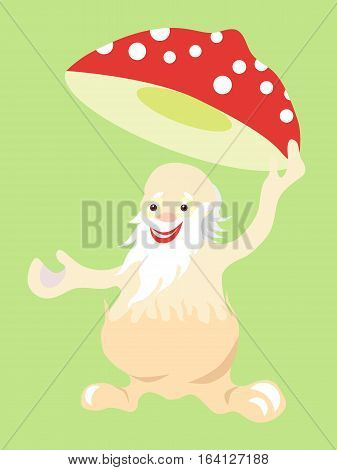 Jolly old man fly agaric mushroom takes off his hat in greeting. Vector image