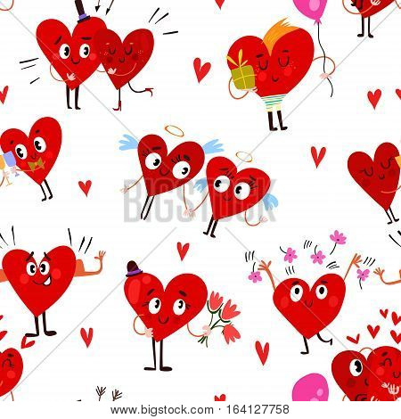 Seamless Cartoon Red Pattern With Cute  Hearts. Vector Illustration- Stock Vector