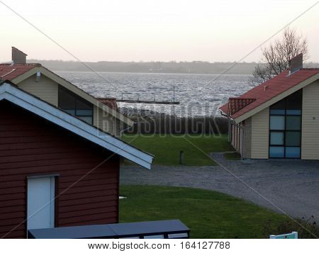 View over Flensburg Fjord on cold winters day