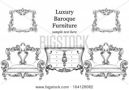 Baroque luxury style furniture set collection. Upholstery with luxurious rich ornaments. French Luxury rich carved ornaments decorationa. Vector Victorian exquisite Style furniture