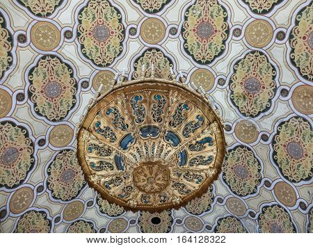 Bucharest Romania January 31 2016: Decorative elements inside the Coral Temple in Bucharest.