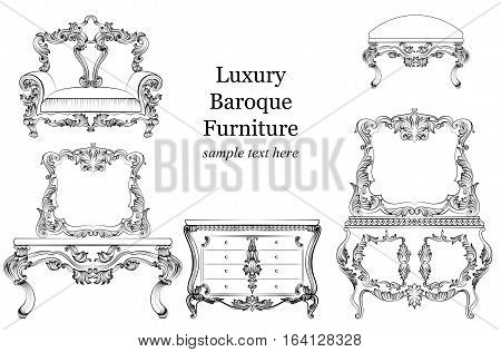 Baroque luxury style furniture set collection. Upholstery with luxurious rich ornaments. French carved decoration. Vector Victorian exquisites