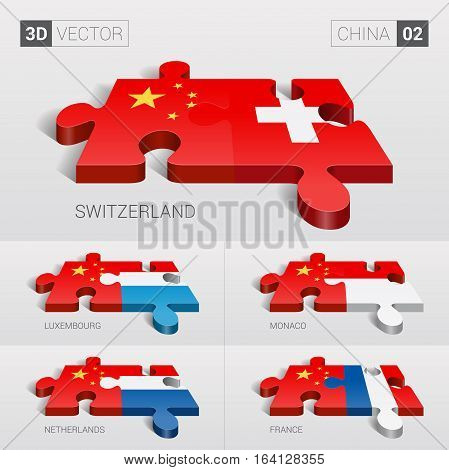 China and Switzerland, Luxembourg, Monaco, Netherlands, France Flag. 3d vector puzzle. Set 02.