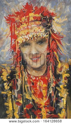 Vertical Art portrait of a girl with oil in ethnic costume in the style of impressionism