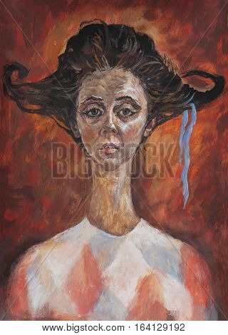 Symbolic art portrait of the actress who played the role in the style travesty