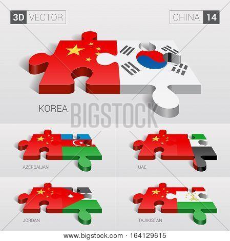 China and Korea, Azerbaijan, UAE, Jordan, Tajikistan Flag. 3d vector puzzle. Set 14.