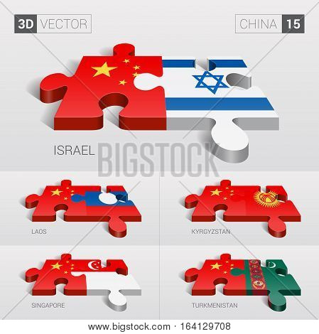 China and Israel, Laos, Kyrgyzstan, Singapore, Turkmenistan Flag. 3d vector puzzle. Set 15.