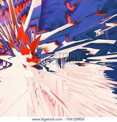 Background of glitch manipulations. Abstract flow of crystals consisting of brightest broken stripes in pink red and blue shades. It can be used for web design and visualization of music