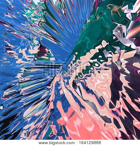 Background of glitch manipulations. Abstract flow of crystals consisting of brightest broken stripes in pink blue and green shades. It can be used for web design and visualization of music