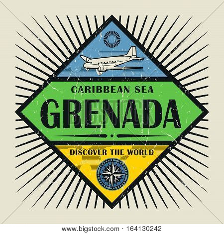 Stamp or vintage emblem with airplane compass and text Grenada Discover the World vector illustration