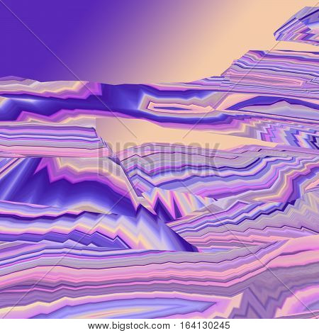 Background of glitch manipulations. Feed abstract broken stripes in lilac pink and yellow shades. It can be used for web design and visualization of music