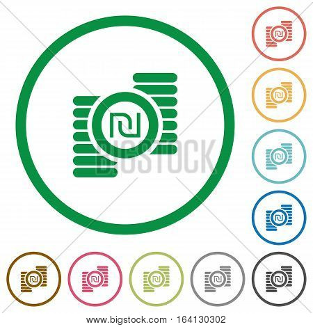 Israeli new Shekel coins flat color icons in round outlines on white background