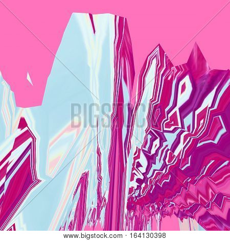 Background of glitch manipulations. Abstract landscape with sharp peaks in the pink and blue colors. It can be used for web design and visualization of music.