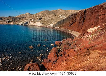 Unusual And Unique Red Beach On Santorini, Greece