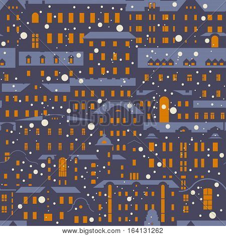 Seamless vector Christmas winter pattern. Old buildings with red light in the windows snow-covered roofs and falling snow in the evening.