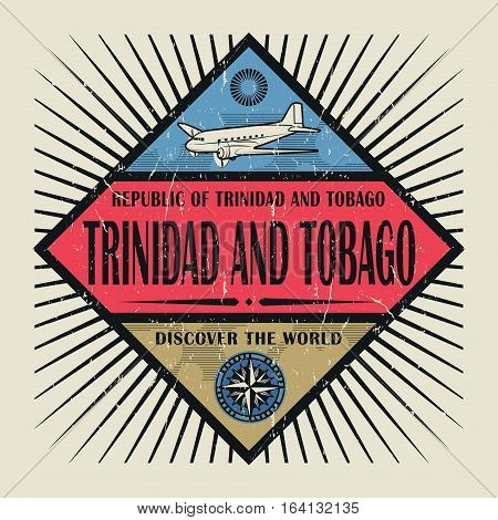 Stamp or vintage emblem with airplane compass and text Trinidad and Tobago Discover the World vector illustration