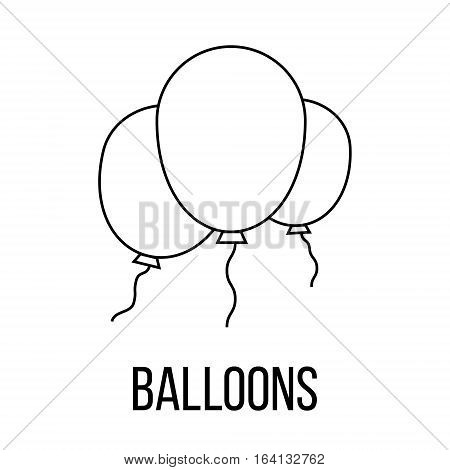 Baloons icon or logo line art style. Vector Illustration.