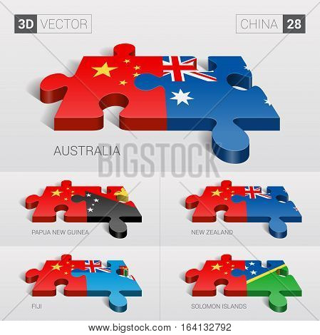 China and Australia, Papua New Guinea, New Zealand, Fiji, Solomon Islands Flag. 3d vector puzzle. Set 28.