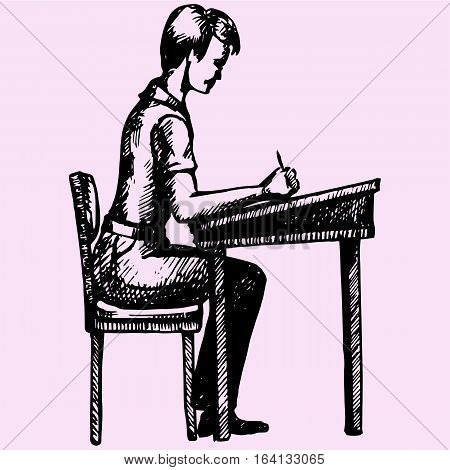 schoolboy sitting at a school desk doodle style sketch illustration hand drawn vector