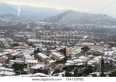 San Pietro Infine - Italy - January 6 2017 - The country with the first snow